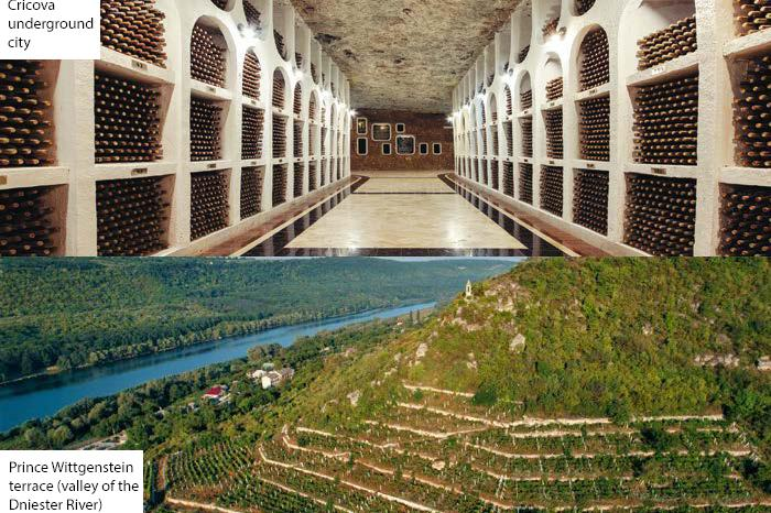Cricova underground city & Prince Wittgenstein terrace (valley of the Dniester River)
