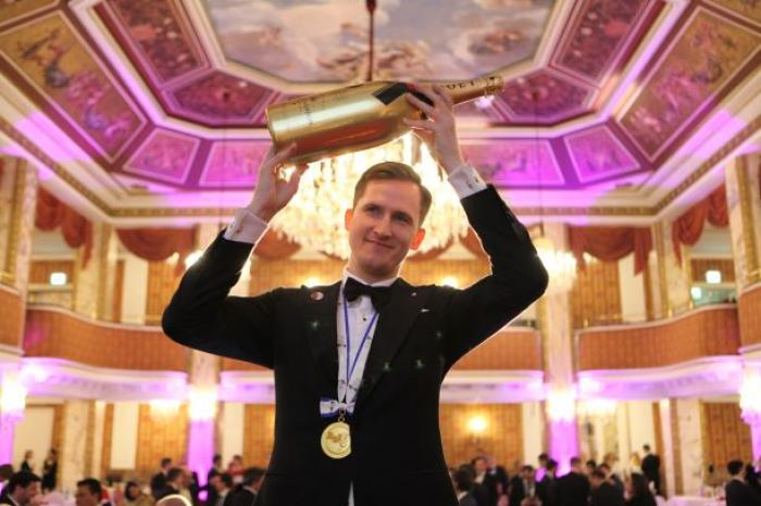 Raimonds Tomsons the night he won Best Sommelier of Europe and Africa 2017.