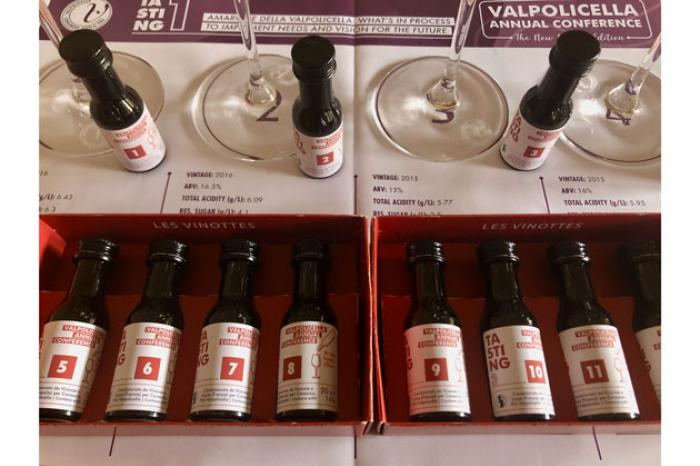 Twelve samples of Valpolicella, Ripasso and Amarone were sent out for the digital conference / Credit: Crecelius